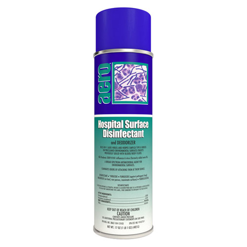 Hospital Spray Room Disinfectant.  Effective against HIV-1, TB, MRSA, Influenza, Herpes Simplex Type II, Staphylococcus Aureus, Salmonella Aureus and Athlete's Foot Fungi.  17oz Aerosol, 1 Each