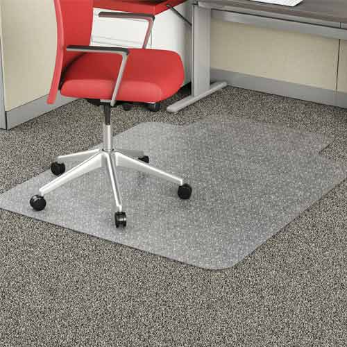 Deflecto Low Pile Carpet Clear Chair Mat, 36 in. x 48 in. Vinyl EconoMat with Lip