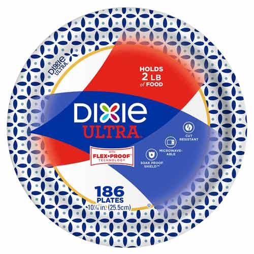 Dixie 10 inch Heavyweight Paper Plate, 186 Count